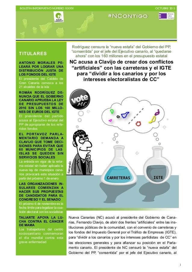 """BOLETÍN INFORMATIVO NÚMERO XXXIV   OCTUBRE 2015   1 Rodríguez censura la """"nueva estafa"""" del Gobierno del PP, """"consentida..."""