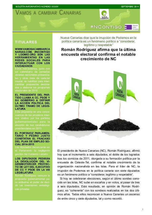 BOLETÍN INFORMATIVO NÚMERO XXXIV  SEPTIEMBRE 2014  1  Nueva Canarias dice que la irrupción de Podemos en la  política cana...