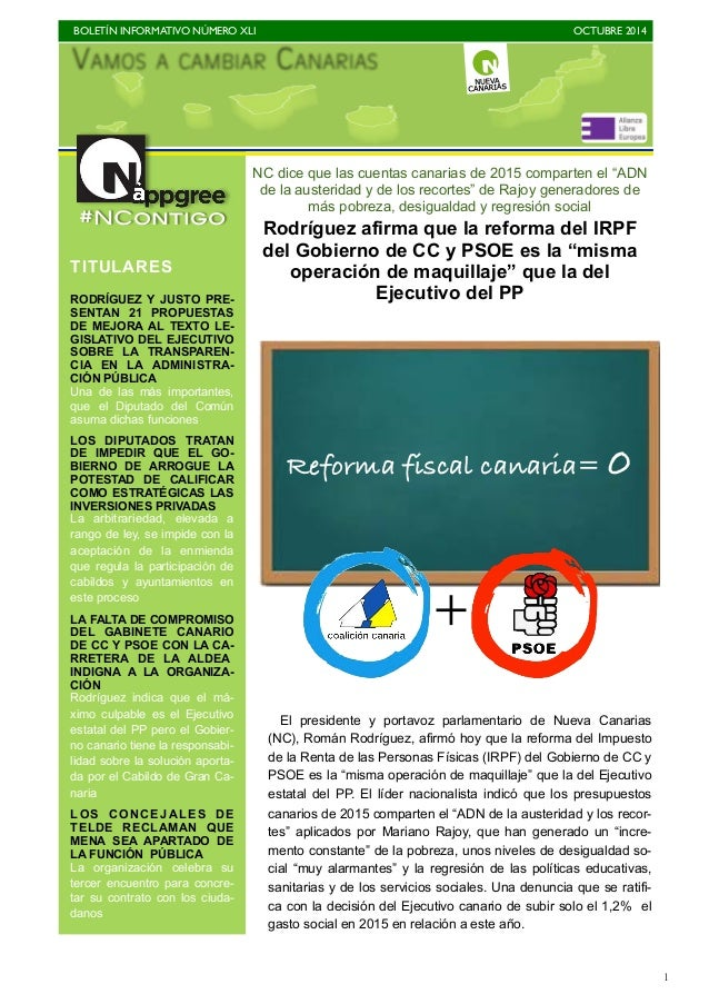 """BOLETÍN INFORMATIVO NÚMERO XLI   OCTUBRE 2014   1 NC dice que las cuentas canarias de 2015 comparten el """"ADN de la auste..."""