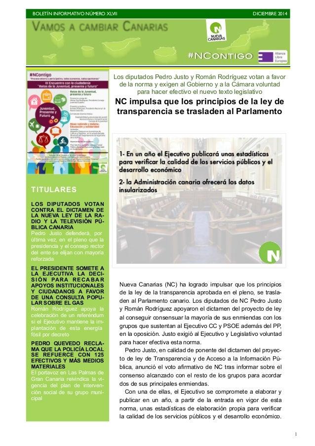 BOLETÍN INFORMATIVO NÚMERO XLVII  DICIEMBRE 2014  1  #NContigo  Los diputados Pedro Justo y Román Rodríguez votan a favor ...