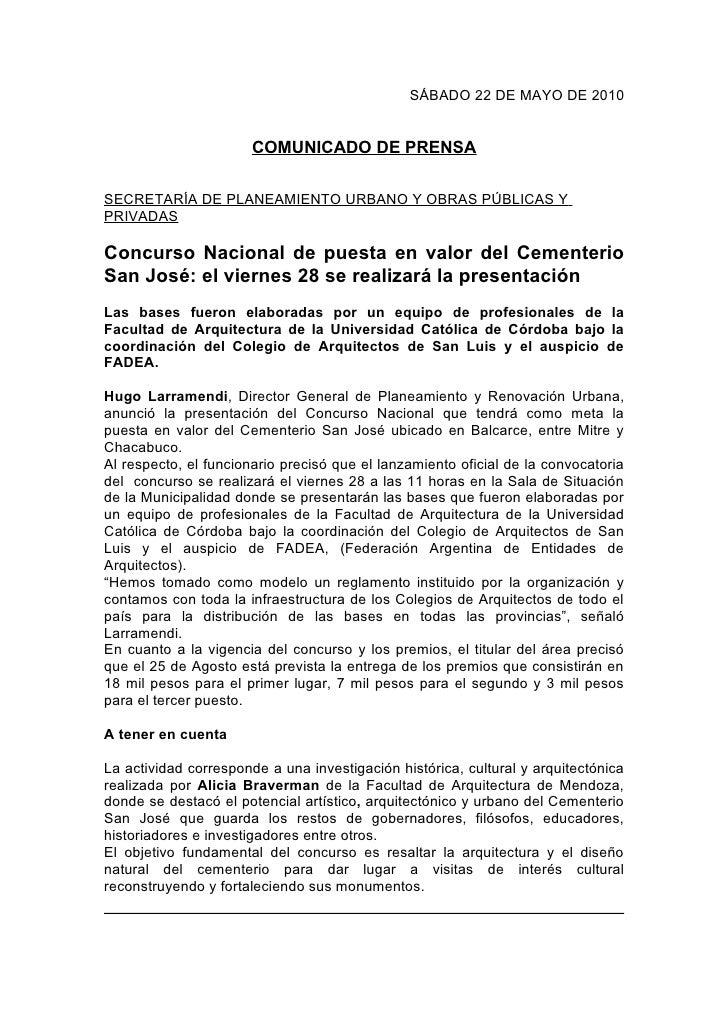 SÁBADO 22 DE MAYO DE 2010                          COMUNICADO DE PRENSA  SECRETARÍA DE PLANEAMIENTO URBANO Y OBRAS PÚBLICA...