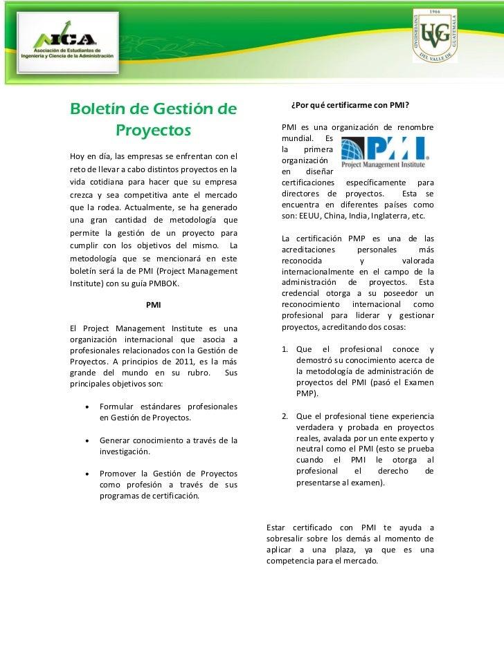Boletín de Gestión de                                  ¿Por qué certificarme con PMI?      Proyectos                      ...