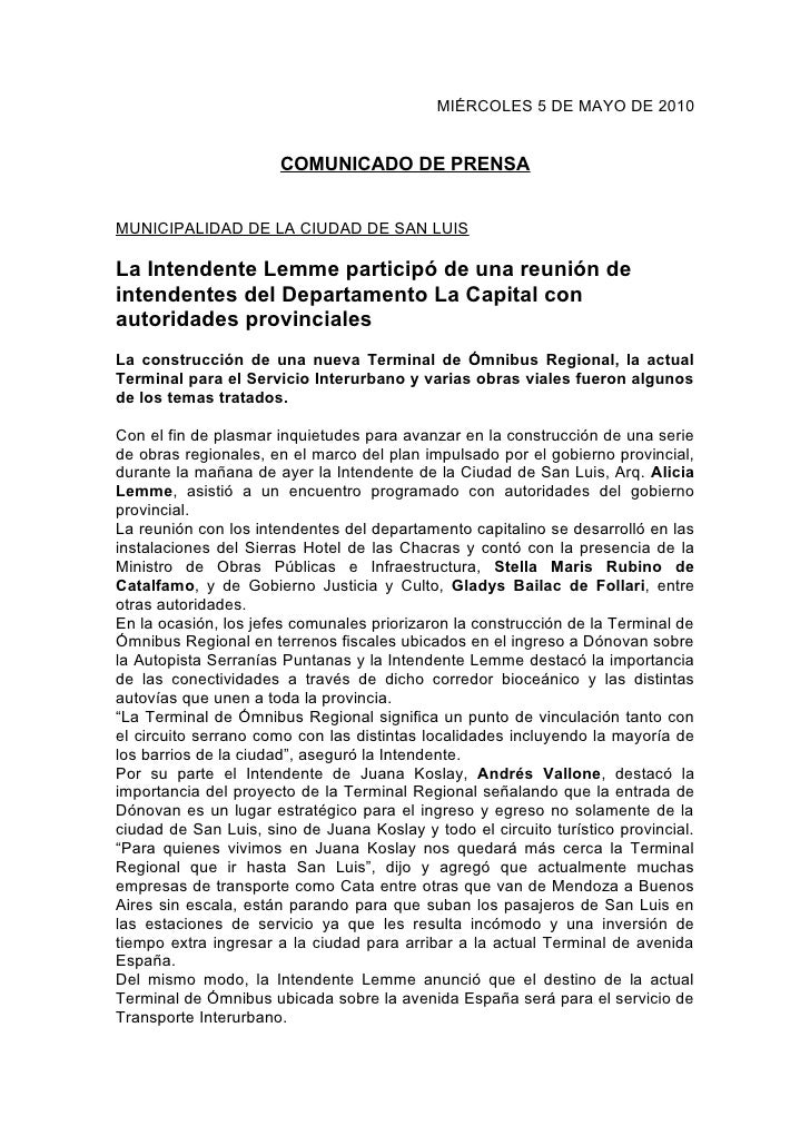 MIÉRCOLES 5 DE MAYO DE 2010                          COMUNICADO DE PRENSA   MUNICIPALIDAD DE LA CIUDAD DE SAN LUIS  La Int...