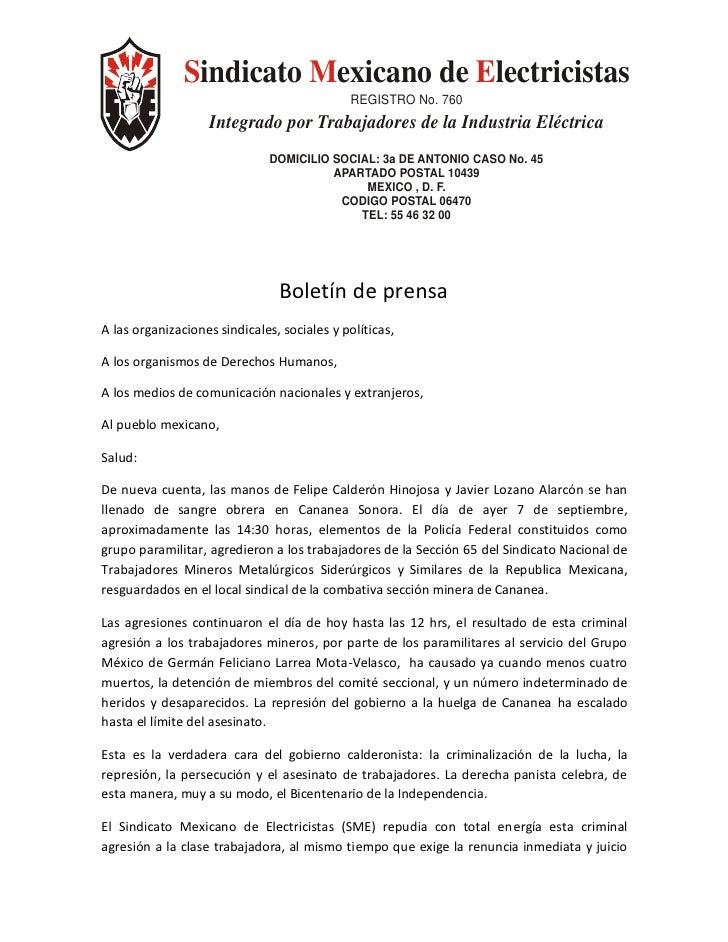 Sindicato Mexicano de Electricistas                                              REGISTRO No. 760                    Integ...
