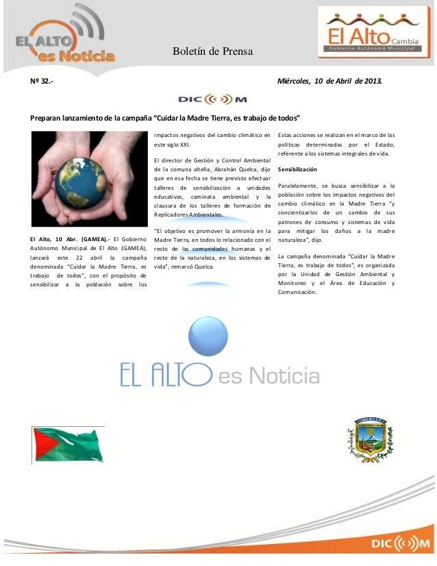 Boletín de Prensa Nro 32 del GAMEA-BOLIVIA