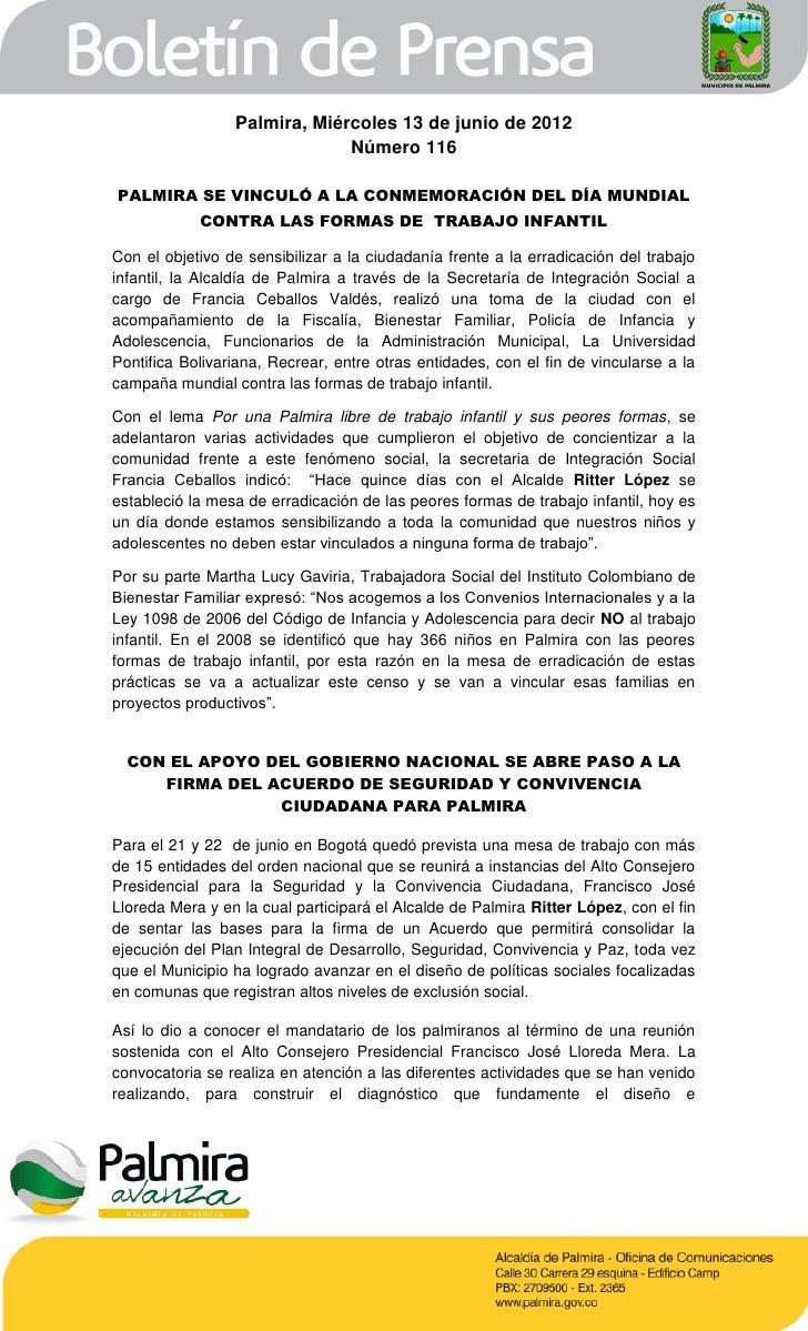 Palmira, Miércoles 13 de junio de 2012                              Número 116PALMIRA SE VINCULÓ A LA CONMEMORACIÓN DEL DÍ...