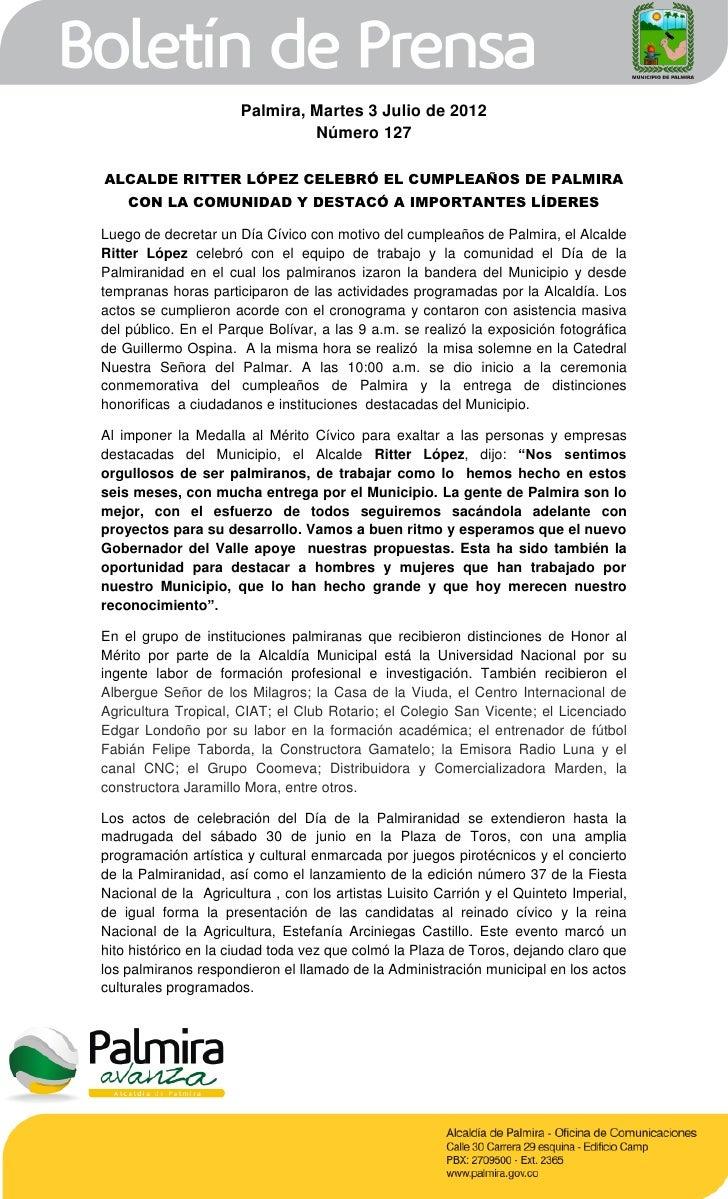 Boletín de la Alcaldía de Palmira 128 (martes 3 de julio)