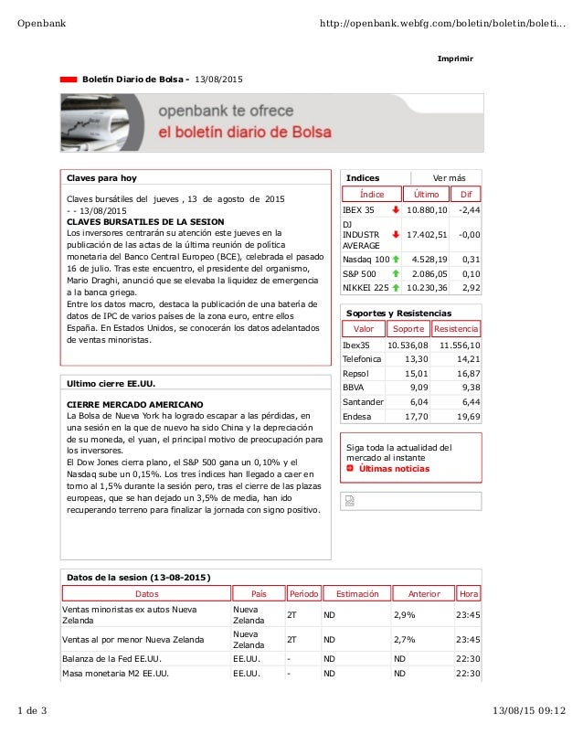 Indices Ver más Índice Último Dif IBEX 35 10.880,10 -2,44 DJ INDUSTR AVERAGE 17.402,51 -0,00 Nasdaq 100 4.528,19 0,31 S&P ...