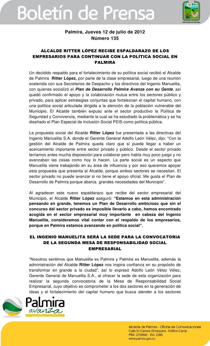 Boletín de la Alcaldía de Palmira 135 (jueves 12 de julio) por La Hora de Palmira