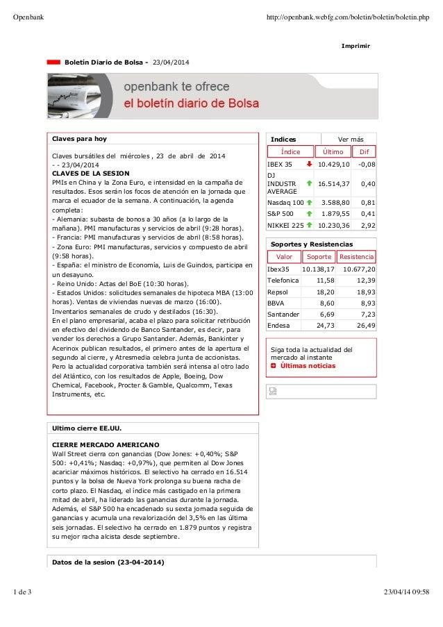 Indices Ver más Índice Último Dif IBEX 35 10.429,10 -0,08 DJ INDUSTR AVERAGE 16.514,37 0,40 Nasdaq 100 3.588,80 0,81 S&P 5...