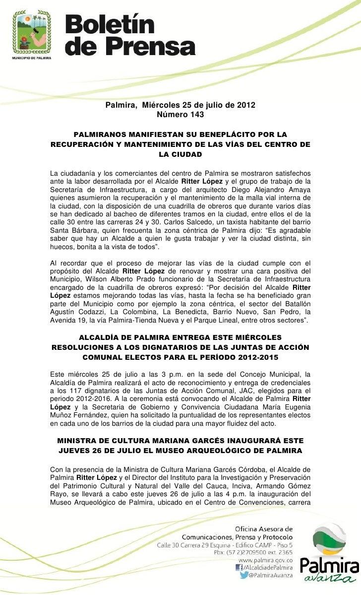 Boletin de la Alcaldia de Palmira 143 por La Hora de Palmira (miércoles 25 de julio)
