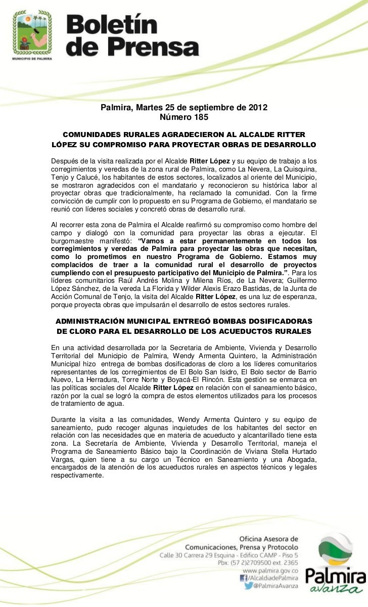 Palmira, Martes 25 de septiembre de 2012                              Número 185  COMUNIDADES RURALES AGRADECIERON AL ALCA...