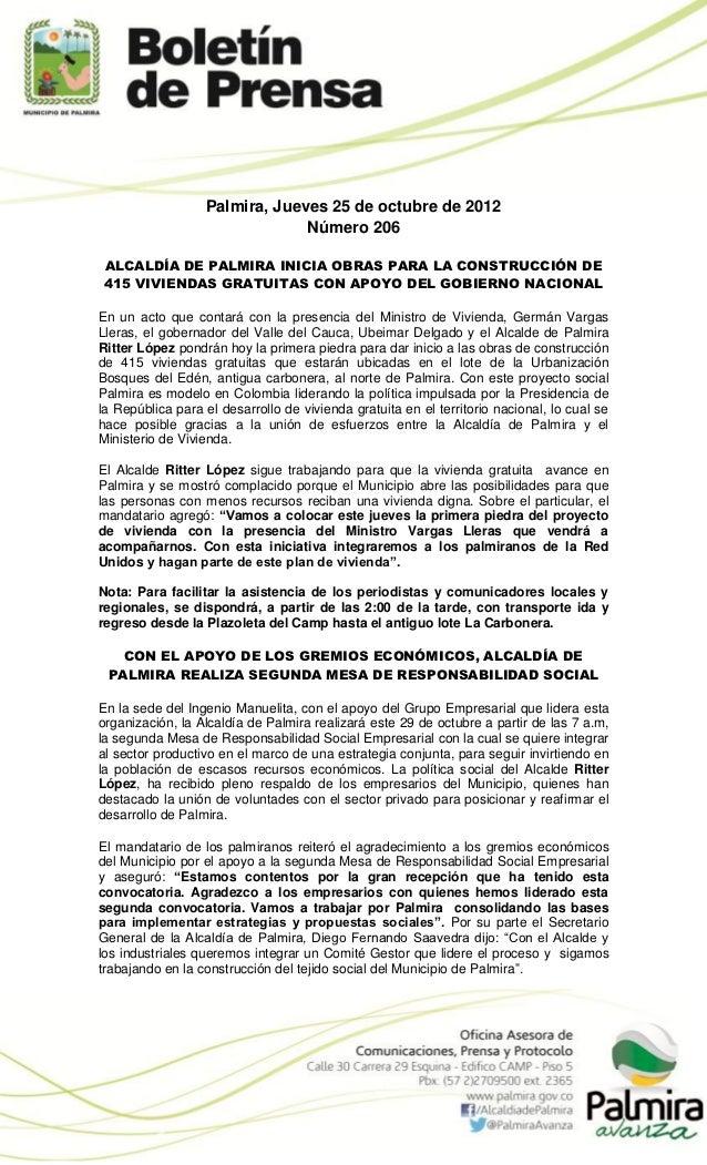 Palmira, Jueves 25 de octubre de 2012                               Número 206 ALCALDÍA DE PALMIRA INICIA OBRAS PARA LA CO...