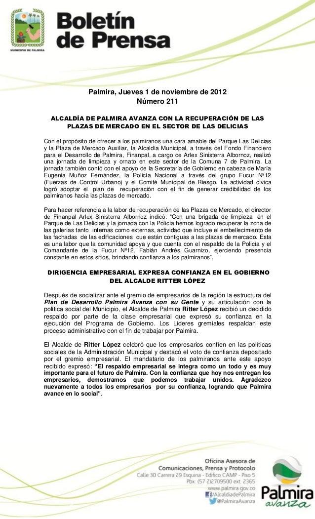 Palmira, Jueves 1 de noviembre de 2012                             Número 211  ALCALDÍA DE PALMIRA AVANZA CON LA RECUPERAC...