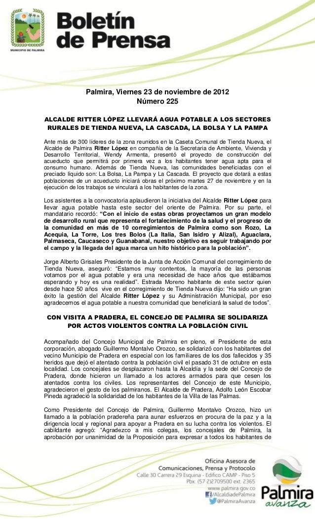 Palmira, Viernes 23 de noviembre de 2012                               Número 225ALCALDE RITTER LÓPEZ LLEVARÁ AGUA POTABLE...