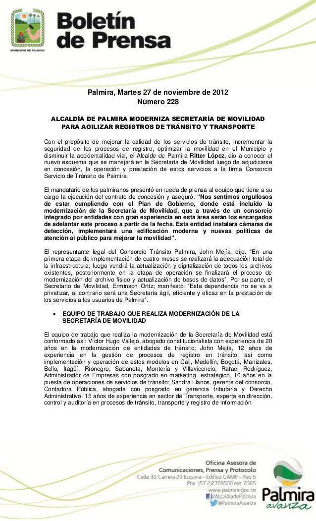 Palmira, Martes 27 de noviembre de 2012                              Número 228  ALCALDÍA DE PALMIRA MODERNIZA SECRETARÍA ...