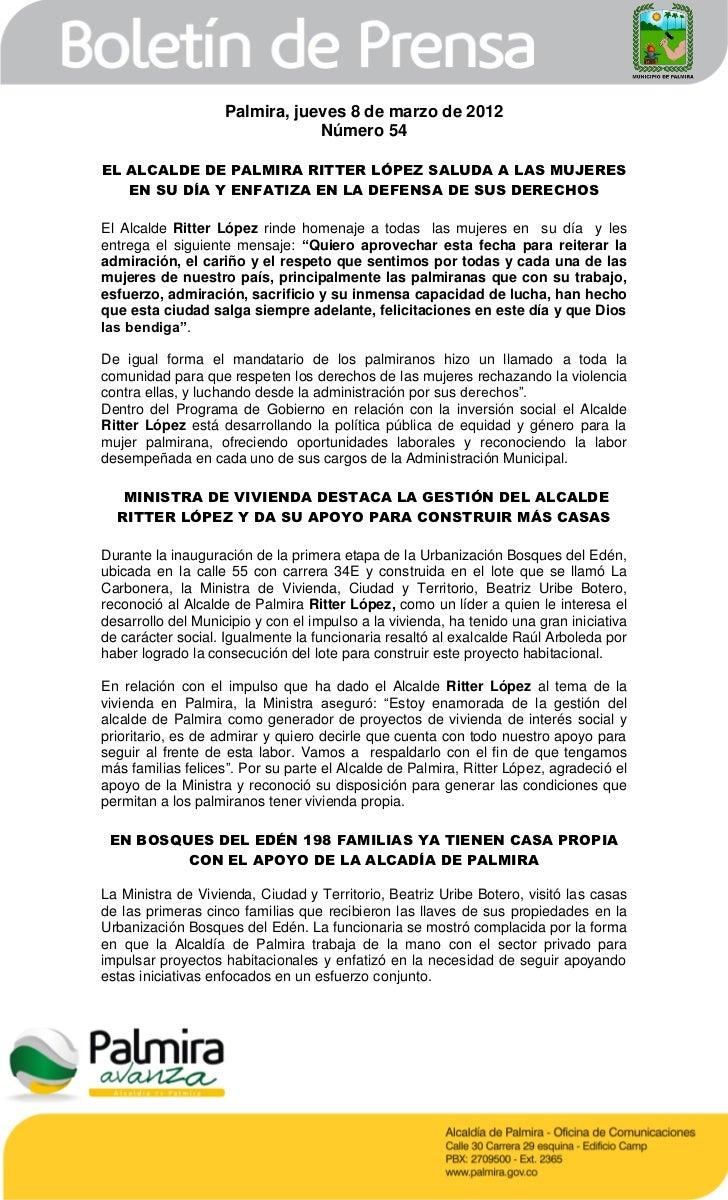 Palmira, jueves 8 de marzo de 2012                                Número 54EL ALCALDE DE PALMIRA RITTER LÓPEZ SALUDA A LAS...