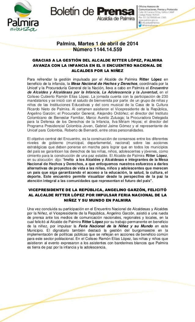 Palmira, Martes 1 de abril de 2014 Número 1144.14.559 GRACIAS A LA GESTIÓN DEL ALCALDE RITTER LÓPEZ, PALMIRA AVANZA CON LA...