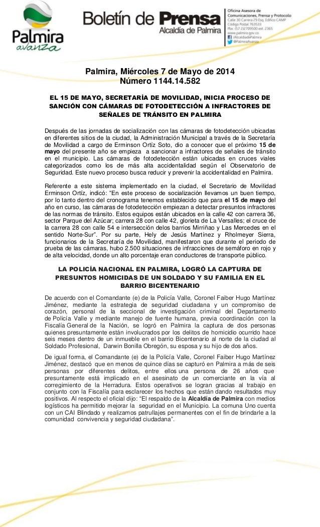 Palmira, Miércoles 7 de Mayo de 2014 Número 1144.14.582 EL 15 DE MAYO, SECRETARÍA DE MOVILIDAD, INICIA PROCESO DE SANCIÓN ...