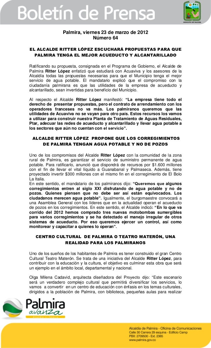 Palmira, viernes 23 de marzo de 2012                               Número 64EL ALCALDE RITTER LÓPEZ ESCUCHARÁ PROPUESTAS P...