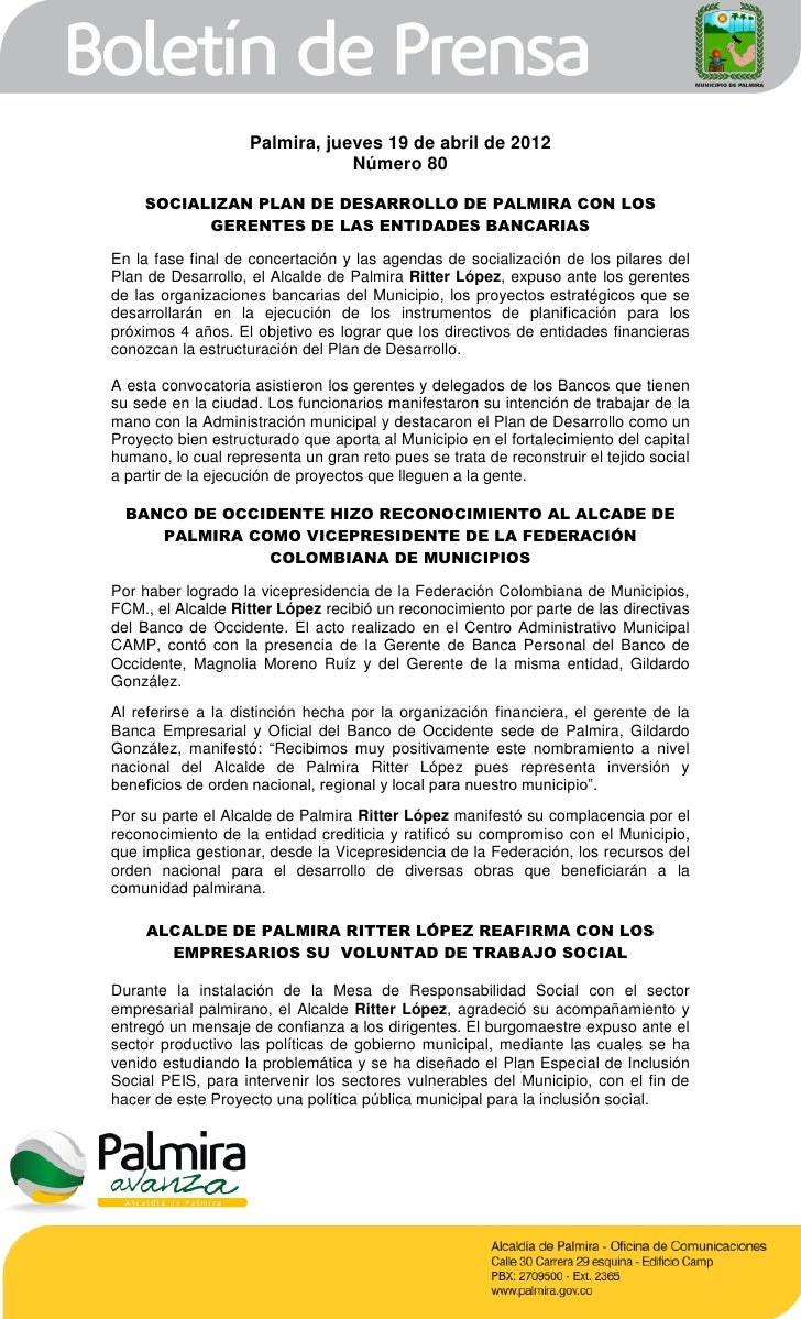 Palmira, jueves 19 de abril de 2012                                Número 80    SOCIALIZAN PLAN DE DESARROLLO DE PALMIRA C...