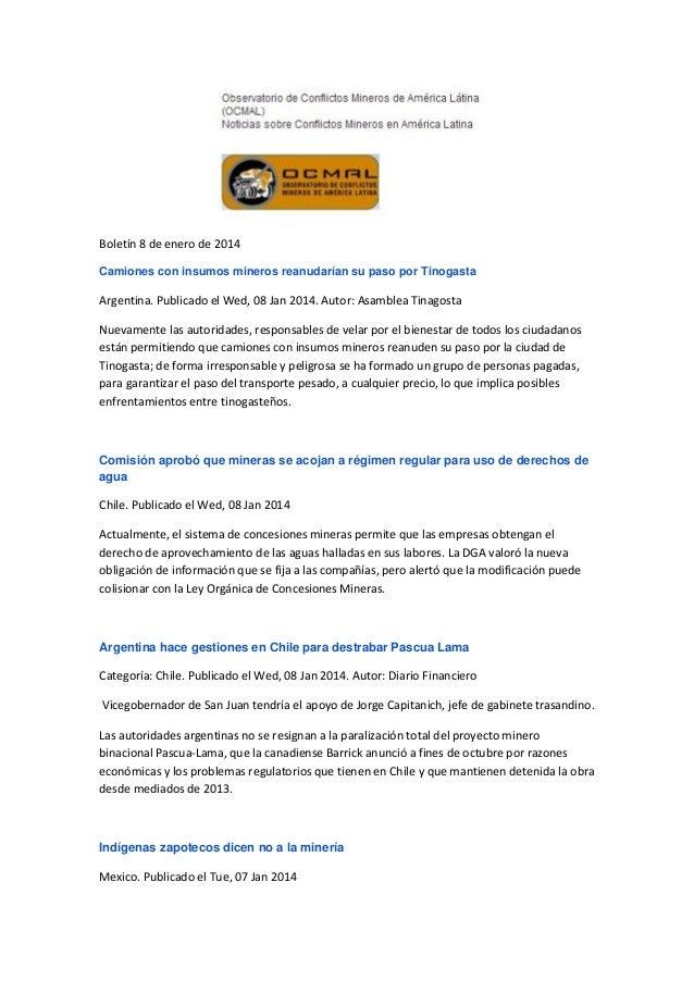Observatorio de Conflcitos America Latina- OCMAL: Boletín 8 de enero de 2014
