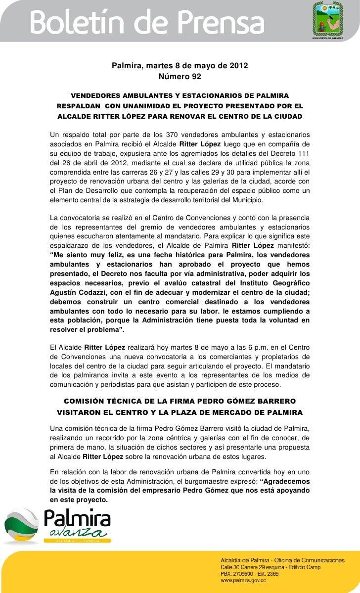 Palmira, martes 8 de mayo de 2012                              Número 92      VENDEDORES AMBULANTES Y ESTACIONARIOS DE PAL...