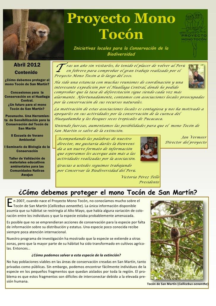 Proyecto Mono                                          Tocón                                          Iniciativas locales ...