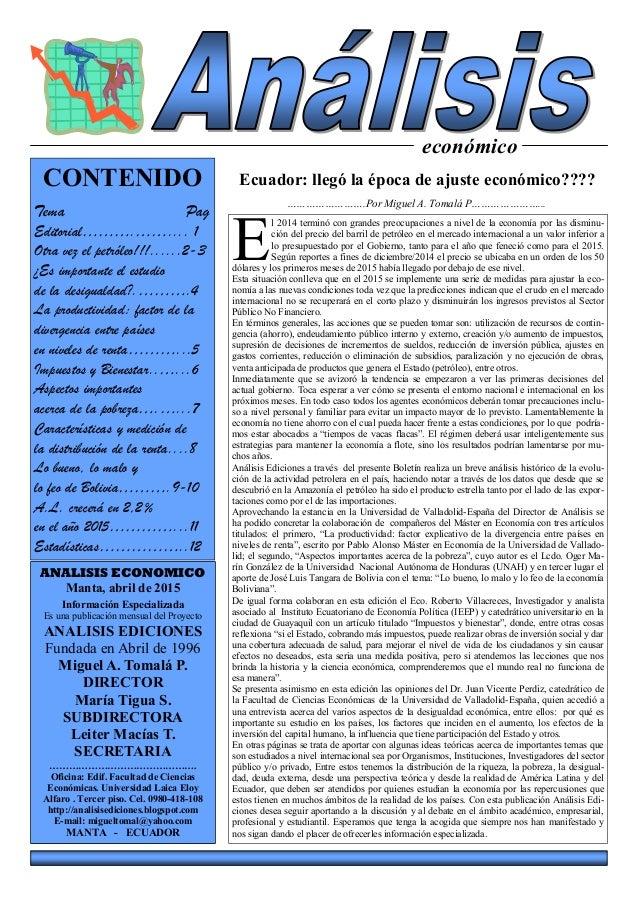 económico Ecuador: llegó la época de ajuste económico???? …………………….Por Miguel A. Tomalá P…………………... ANALISIS ECONOMICO Man...