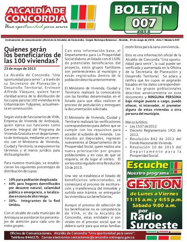 BOLETÍN007007007201320132013Instrumento de comunicación oficial de la Alcaldía de Concordia. Sergio Restrepo Betancur. Alc...