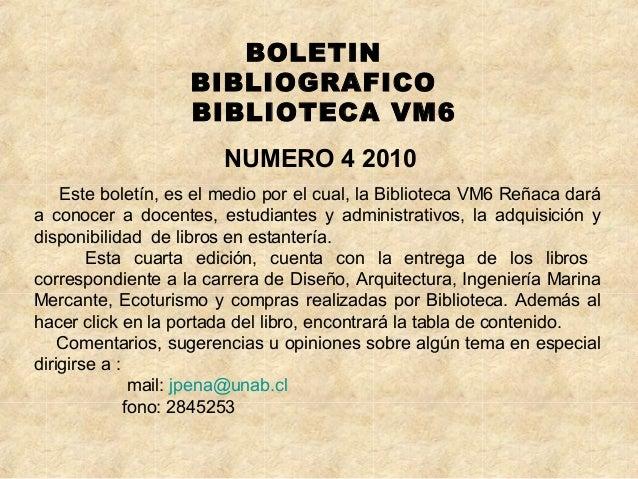 Boletín bibliográfico nº 4 2010