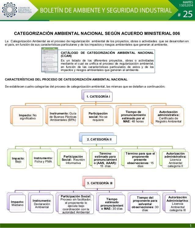 CATEGORIZACIÓN AMBIENTAL NACIONAL SEGÚN ACUERDO MINISTERIAL 006 La Categorización Ambiental es el proceso de regularizació...