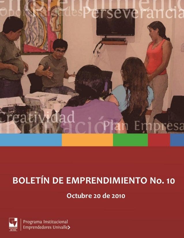Boletín de emprendimiento no.10 -octubre 2010