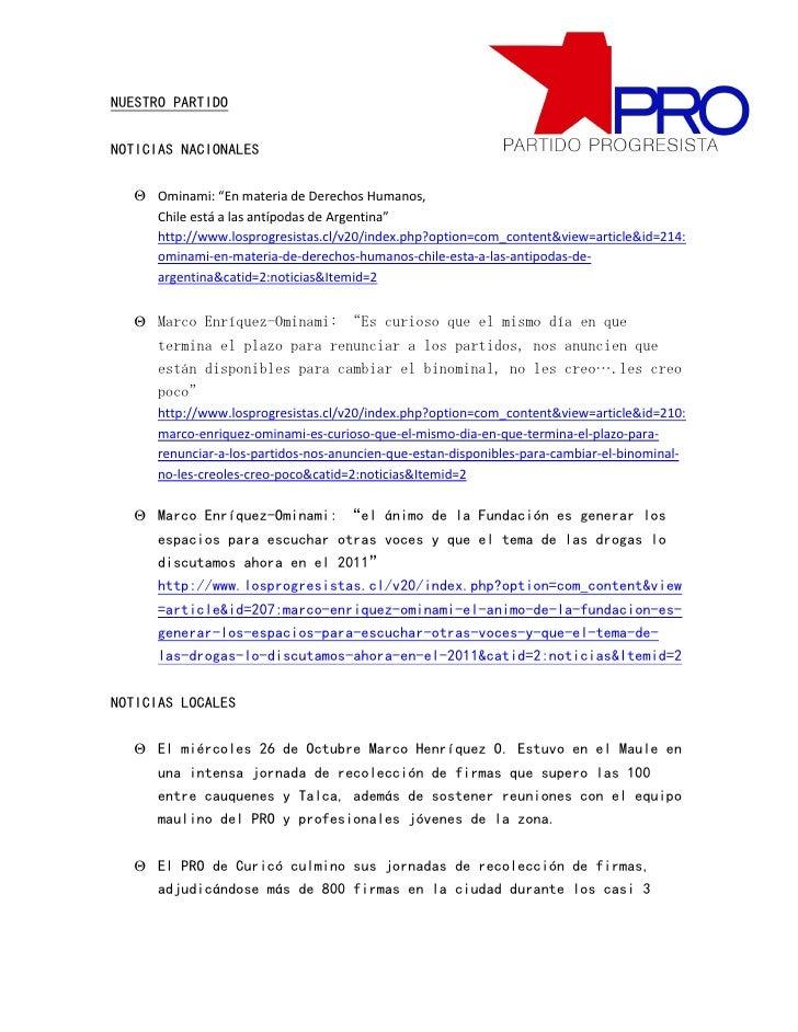 """NUESTRO PARTIDONOTICIAS NACIONALES   Ominami: """"En materia de Derechos Humanos,     Chile está a las antípodas de Argentin..."""