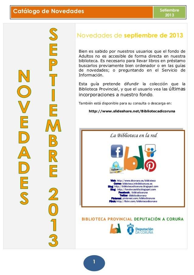 Boletín de novedades. libros, dvd y música. setiembre 2013