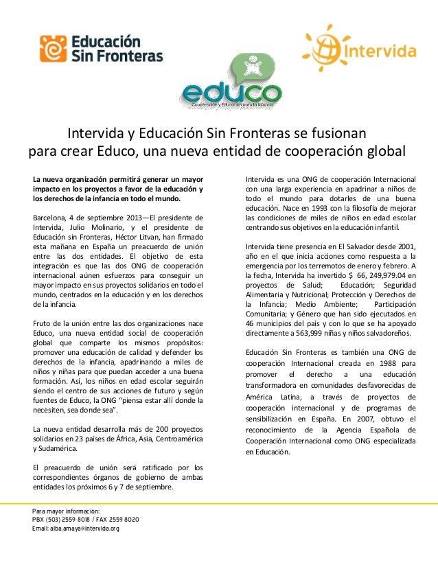 Boletín de prensa   fusión intervida y educación sin fronteras