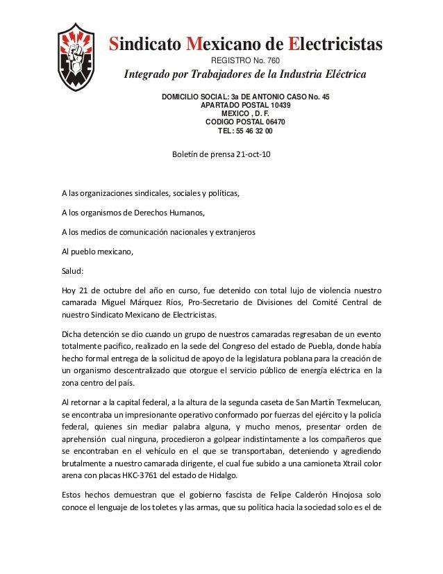 indicato exicano de lectricistasS M E REGISTRO No. 760 Integrado por Trabajadores de la Industria Eléctrica DOMICILIO SOCI...