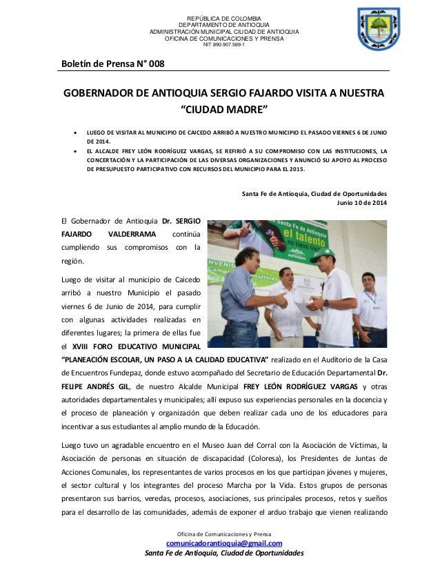REPÚBLICA DE COLOMBIA DEPARTAMENTO DE ANTIOQUIA ADMINISTRACIÓN MUNICIPAL CIUDAD DE ANTIOQUIA OFICINA DE COMUNICACIONES Y P...