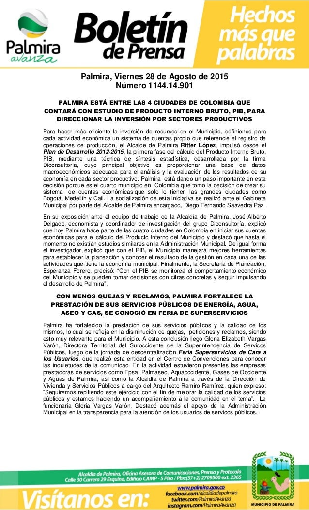Palmira, Viernes 28 de Agosto de 2015 Número 1144.14.901 PALMIRA ESTÁ ENTRE LAS 4 CIUDADES DE COLOMBIA QUE CONTARÁ CON EST...