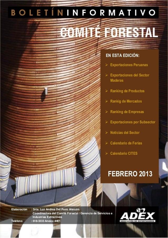  Exportaciones Peruanas Exportaciones del SectorMaderas Ranking de Productos Rankig de Mercados Ranking de Empresas ...