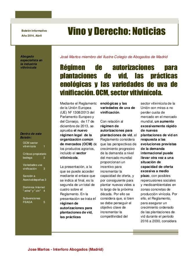 Jose Martos - Interforo Abogados (Madrid) Boletín Informativo Año 2014, Abril Vino y Derecho: Noticias Abogado especialist...