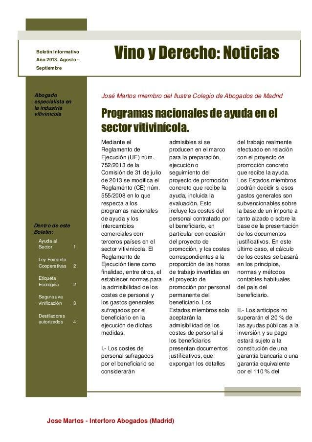 Jose Martos - Interforo Abogados (Madrid) Boletín Informativo Año 2013, Agosto - Septiembre Vino y Derecho: Noticias Aboga...