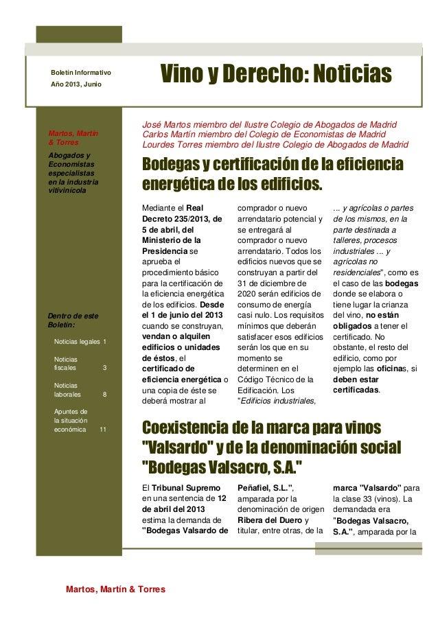 Martos, Martín & Torres Boletín Informativo Año 2013, Junio Vino y Derecho: Noticias Martos, Martín & Torres Abogados y Ec...