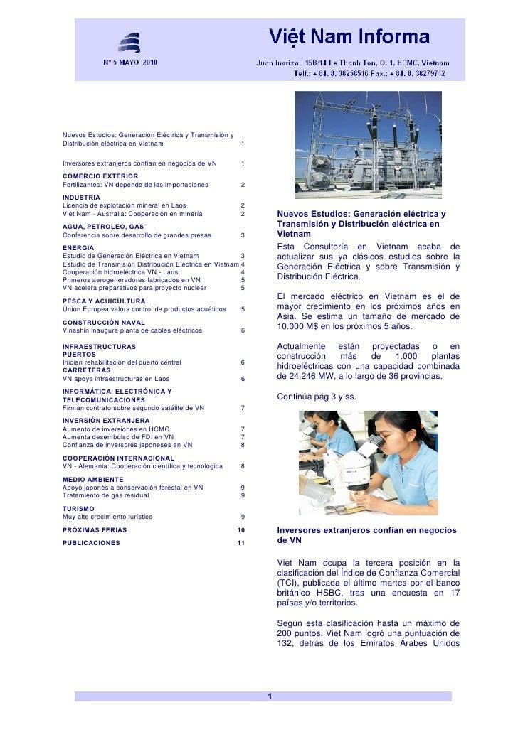 Nuevos Estudios: Generación Eléctrica y Transmisión y Distribución eléctrica en Vietnam                       1  Inversore...