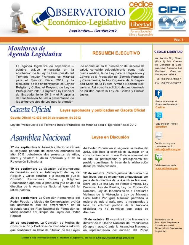 Boletín monitoreo a legislativa sept oct 2012 cipe