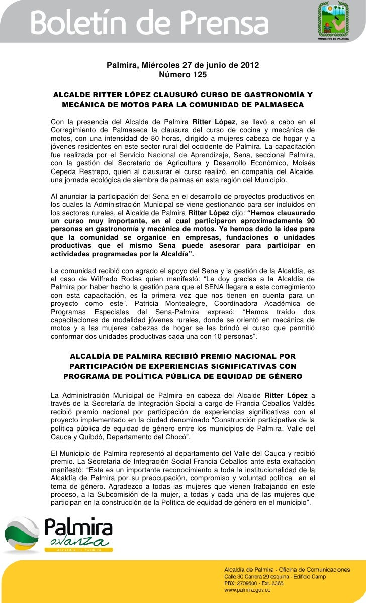 Palmira, Miércoles 27 de junio de 2012                              Número 125ALCALDE RITTER LÓPEZ CLAUSURÓ CURSO DE GASTR...