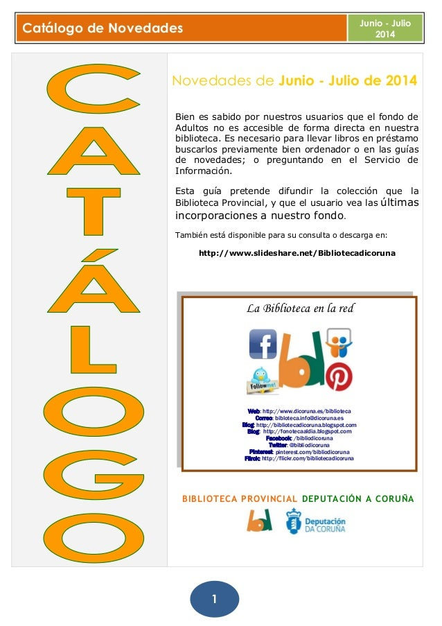 Boletín novedades junio julio. Biblioteca Provincial da Coruña