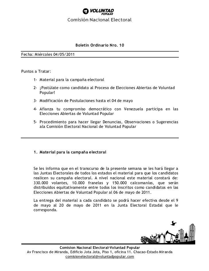 Boletín Ordinario Nro. 10Fecha: Miércoles 04/05/2011Puntos a Tratar:      1- Material para la campaña electoral      2- ¡P...