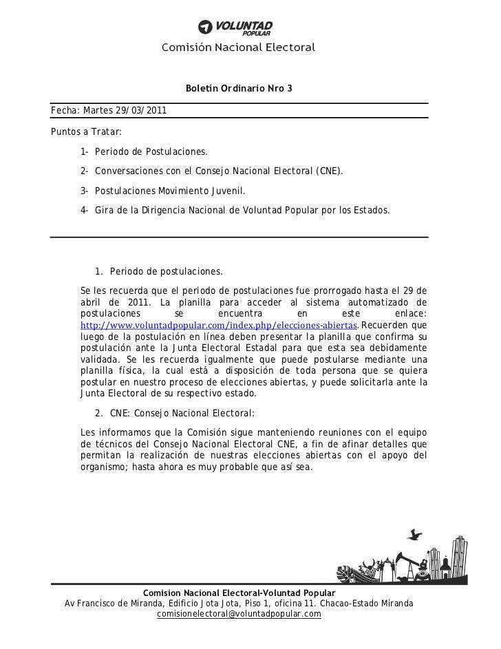 Boletín Ordinario Nro 3Fecha: Martes 29/03/2011Puntos a Tratar:      1- Periodo de Postulaciones.      2- Conversaciones c...