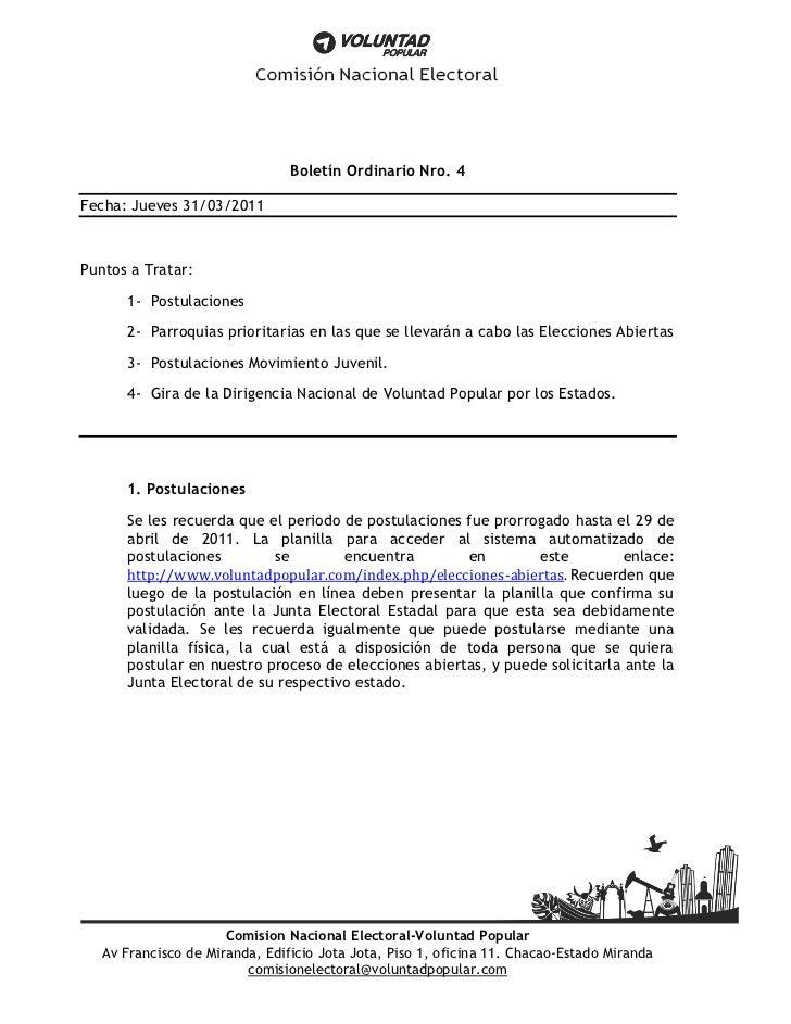 Boletín Ordinario Nro. 4Fecha: Jueves 31/03/2011Puntos a Tratar:      1- Postulaciones      2- Parroquias prioritarias en ...